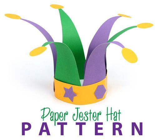 Paper Jester Hat Pattern: Mardi Gras Crafts for Kids