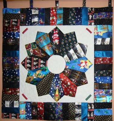 Wall hanging from Christmas ties, by Helen-Mary (Caledonia, Ontario, Canada)