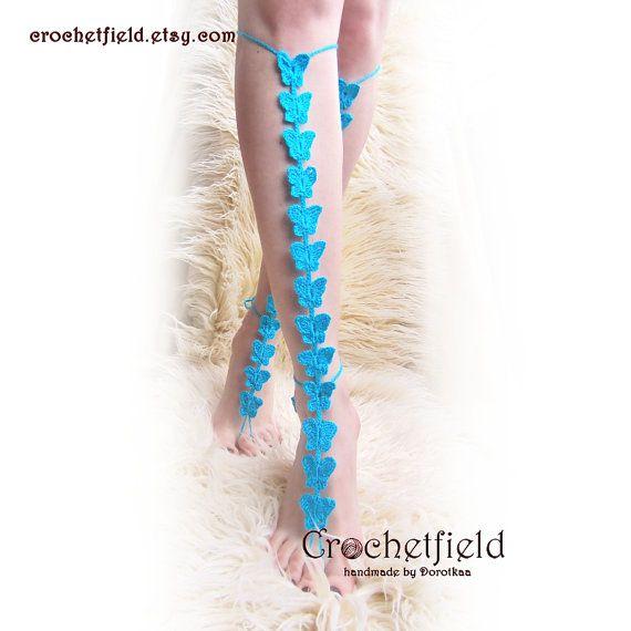 Glamour BUTTERFLIES crochet barefoot sandals knee by Crochetfield