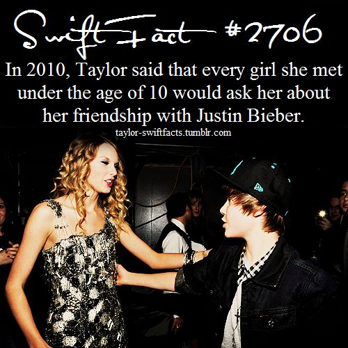"""That's adorable! It really sucks that Justin is bashing Taylor now. They used to have the cutest friendship. Like when Justin performed """"Baby"""" with Taylor during the Speak Now Tour, they had like a brother-sister relationship it seemed like. I'm not a fan of Justin Bieber at all, and lately, I can't stand him! But I used to love their friendship. And now Justin treats her like crap. It's just really sad."""