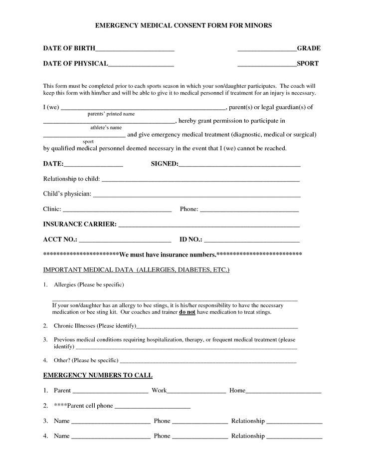 25+ unique Medical consent form children ideas on Pinterest - medical consent forms