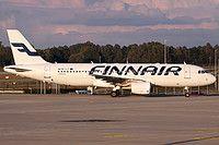 Finnair Airbus A320-214 OH-LXI aircraft, skating at Germany Dusseldorf International Airport. 29/10/2016.