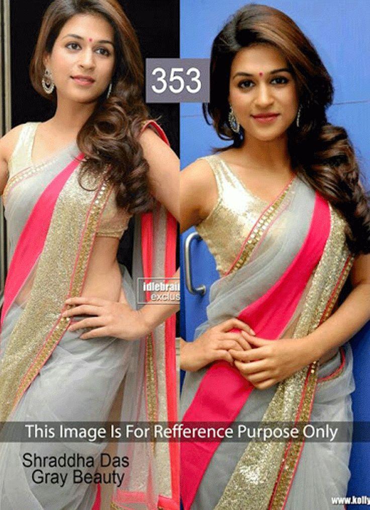 Shraddha Das Grey Net saree