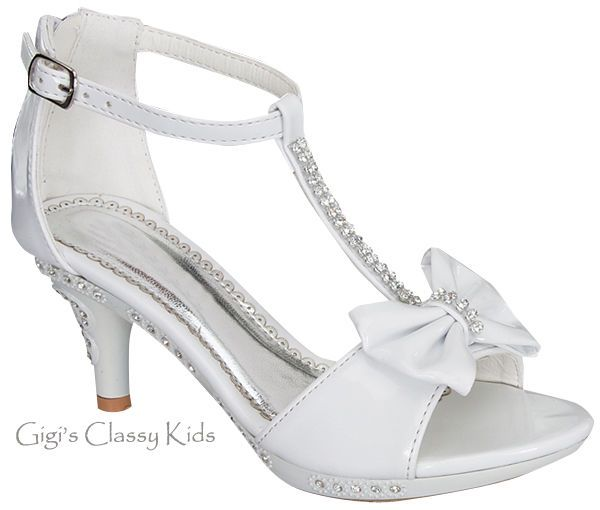 New Girls White T Strap Rhinestone Dress Heels Shoes Sandals Youth Kids  Toddler