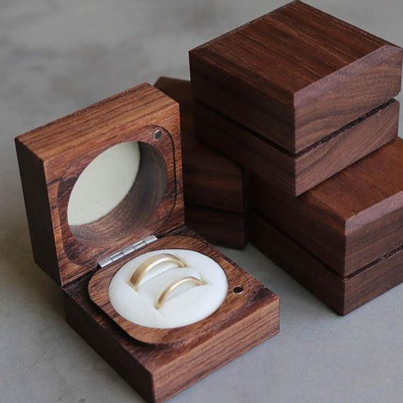 Handmade Sustainable Walnut Ring Boxes With Cream Interior Sustainable Eco Friendly Ring Bearer Box Engagem Wood Ring Box Wooden Ring Box Wooden Rings