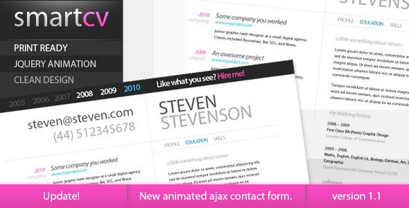 Updated! SmartCV is a clean resume that was designed to hold all the info you may need when you create an online resume.   You can easily add content and keep it within one click distance, due to th...