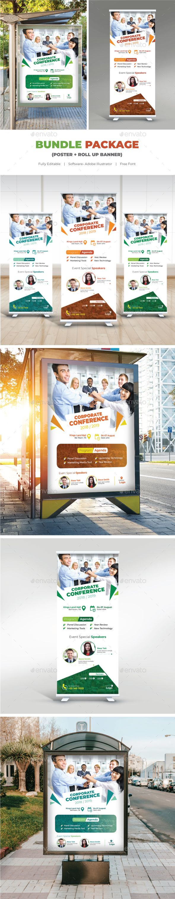 Conference Bundle - Poster + Roll Up Banner Templates Vector EPS, AI Illustrator