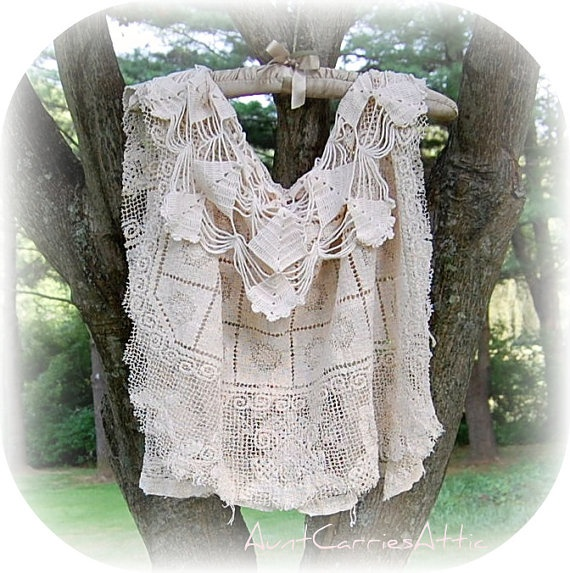 Shabby Victorian Steampunk Lace Poncho Vest made from All Vintage Textiles Tea Dyed