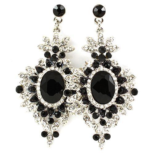 Oval Black Crystal Statement Earrings