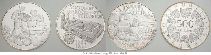 RITTER Österreich, 2x 500 Schilling 1986-1995, St. Florian, Hügellandschaft, PP #coins