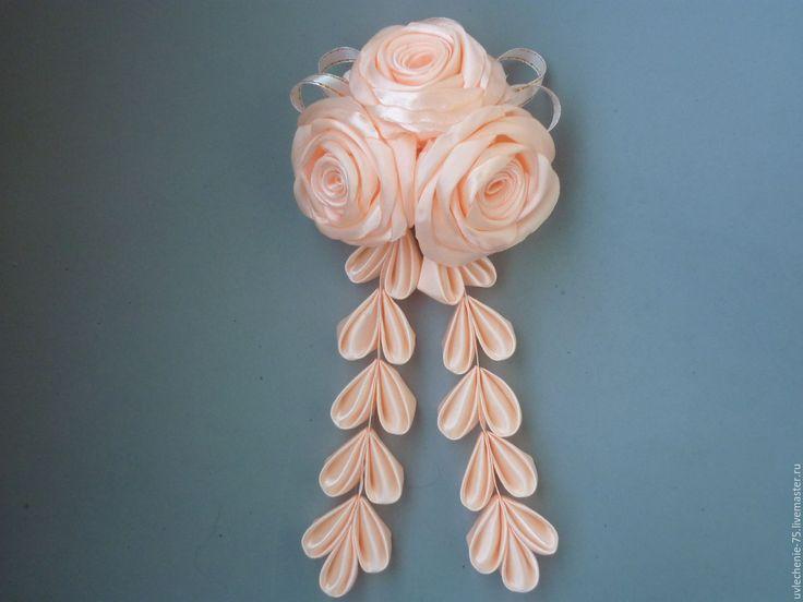 """Купить Заколка-автомат """"Розы"""" - комбинированный, белый, персиковый, коралловый, украшения ручной работы"""