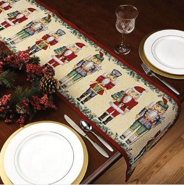 """Classic Nutcracker Linens from Lillian Vernon.  Nutcracker table linens bring visions of sugarplums to the feast! When it's time to set an enchanting Yuletide table, bring in the troops! Cotton-poly 13"""" x 19"""" placemats add cheer to get-togethers while protecting your table.  Get your rebate from RebateGiant."""