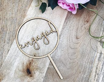 Engaged Cake Topper Engagement Cake Topper Circle Cake Cake Topper Cake Decoration Cake Decorating Engaged Topper Sugar Boo CIRCMD