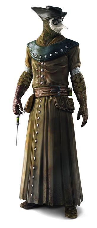 Plague Doctor wearing Miasma mask. Reference image from Assasins creed.