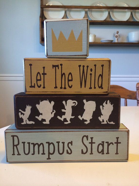 Where The Wild Things Are Nursery Blocks Custom Playroom Baby Shower Centerpiece Stacking Wood Primitive