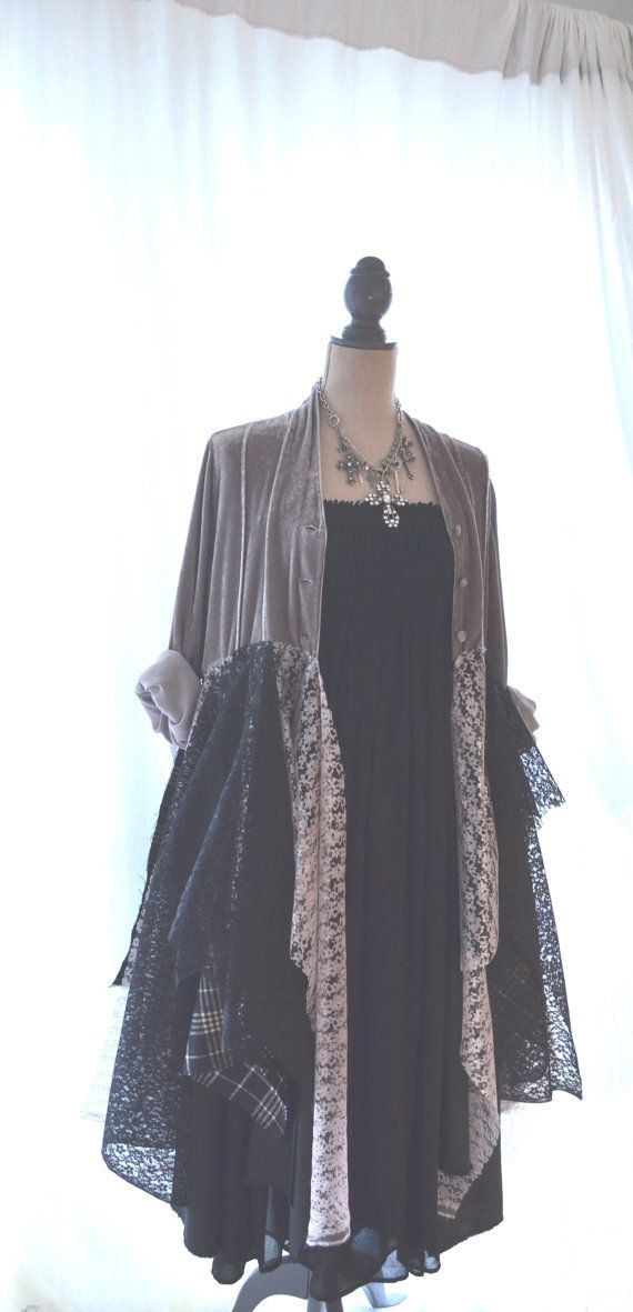 lagelook coat, fall velvet jacket, winter silver, RESERVED FOR L platinum, altered clothes, bohemian, romanti shabby, true rebel clothing, L