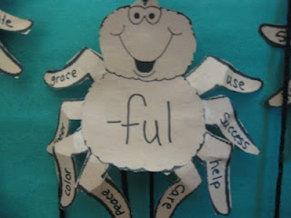 cute spiders to make words from prefixes and suffixes!