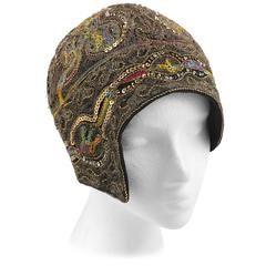 Кутюр c.1920s Металлическое золото Вышитые Шелковый Sequin Хлопушки Клош вечер Hat