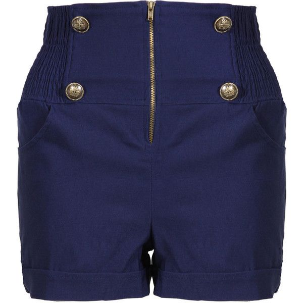 Blue Military High Waisted Shorts ($27) ❤ liked on Polyvore