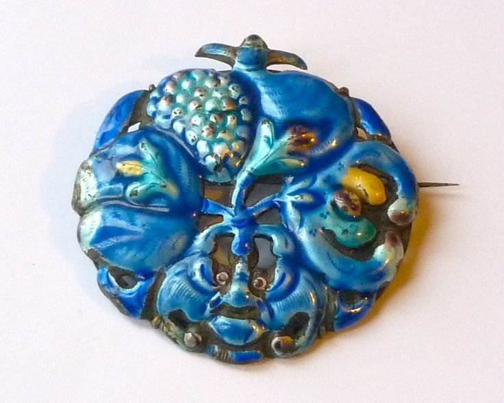 Vintage CHINA SILVER Chinese Enamel Floral Flowers Brooch   £30.99 (10B):