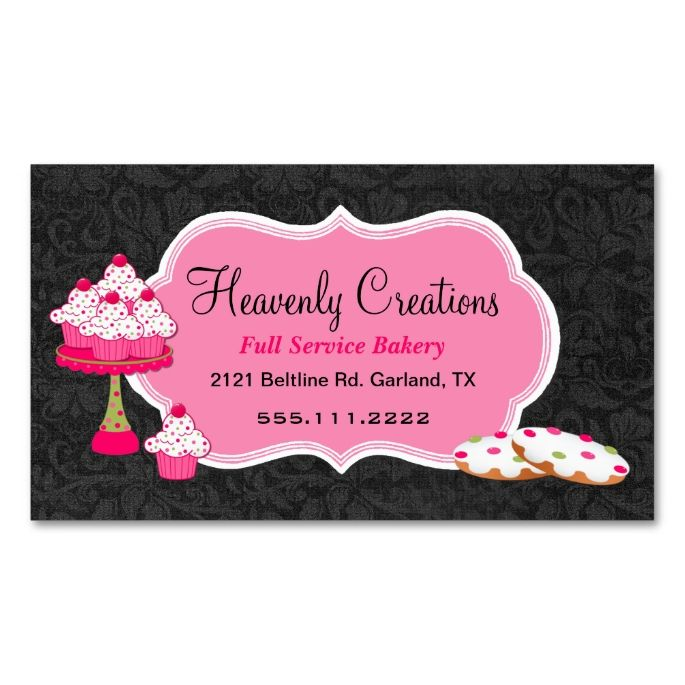 2251 best damask business card templates images on pinterest black damask and pink sweets bakery business card reheart Gallery