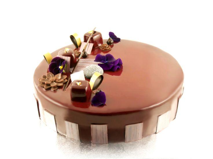 Entremets chocolat biscuit dacquoise noisettes mousse for Glacage miroir 2 couleurs
