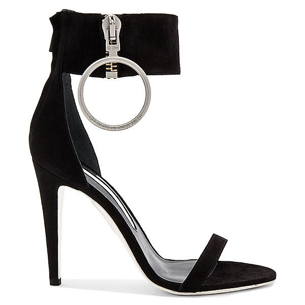 OFF-WHITE Zipped High Sandal Heel found on Polyvore featuring shoes, sandals, heels, leather sole shoes, zip shoes, high heeled footwear, champagne shoes and off white shoes