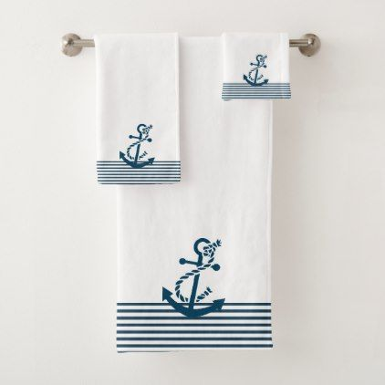 Blue Ines & Nautical Boat Anchor Bath Towel Set - home gifts ideas decor special unique custom individual customized individualized
