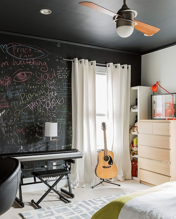 love chalkboard paint to display inspirations. love the guitar display and ceiling fan