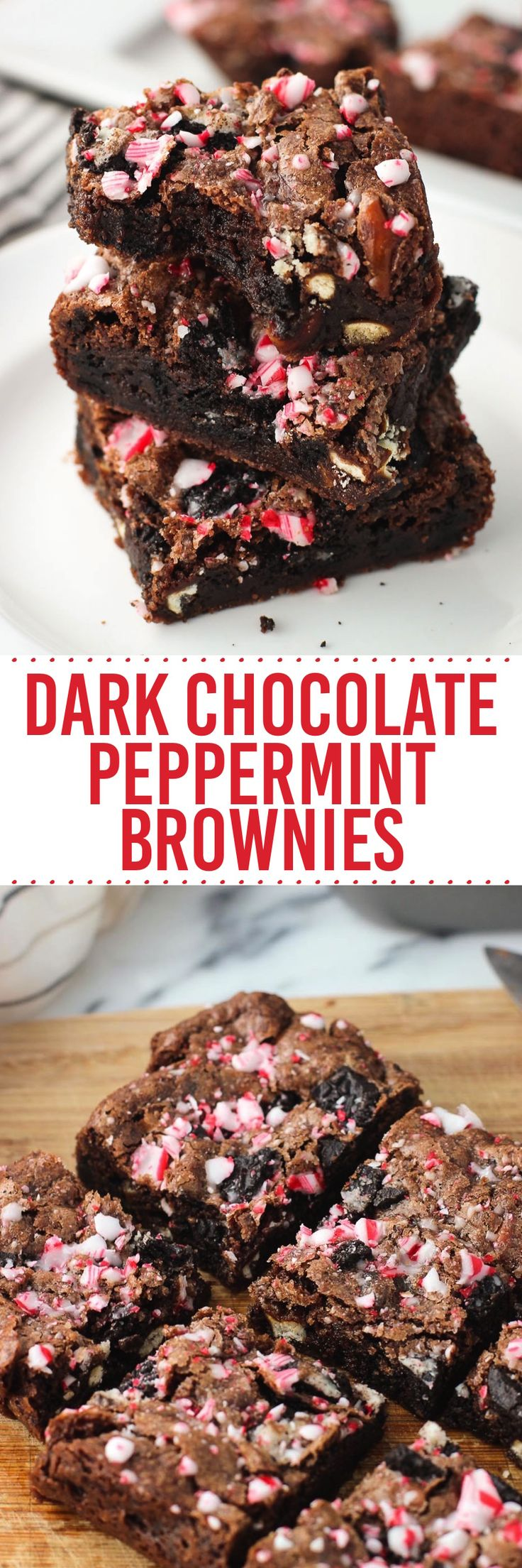 "Dark chocolate peppermint brownies loaded with Oreo pieces, pretzels, and crushed candy canes! This recipe is made in a 9""x5"" loaf pan for a smaller yield."