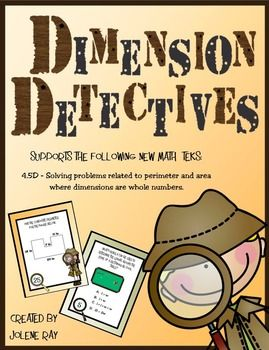 "This activity supports the following New Math TEKS and CCSS:4.5D -  Solving problems related to perimeter and area of rectangles where dimensions are whole numbers.4.MD.A.3 - Apply the area and perimeter formulas for rectangles in real world and mathematical problems.Included with this purchase are 32 detective themed task cards that will give your fourth grader practice using the formulas for perimeter and area to ""detect"" the length, width, perimeter, area, and composite area of rectangles…"