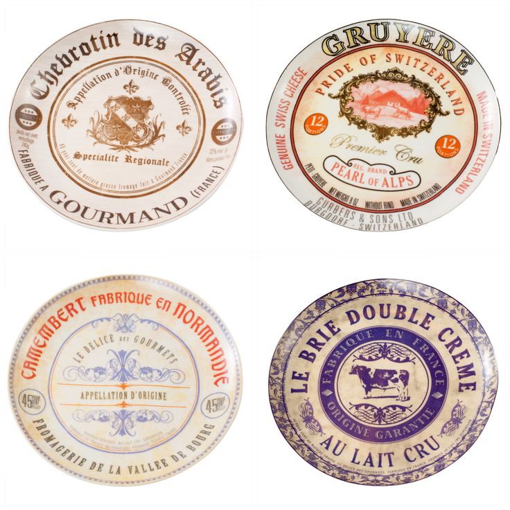 W komplecie 4 sztuki: #talerz #brie chees #camembert chees #gruyere #chevrotin
