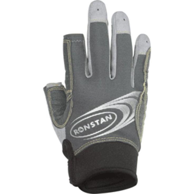 Ronstan Sticky Race Gloves w-3 Full & 2 Cut Fingers - Grey - Large