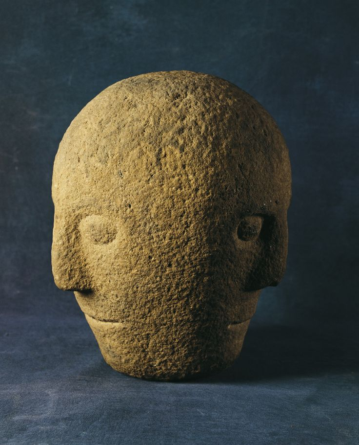 The Corleck head. This carved stone head probably dates from the Early Iron Age. Containing three faces, it was discovered in the townland of Drumeague, Co. Cavan and probably represents a Celtic deity.