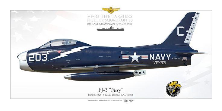 "UNITED STATES NAVYFIGHTER SQUADRON 33 (VF-33) ""The Tarsiers""USS Lake Champlain (CVA 39), 1956"
