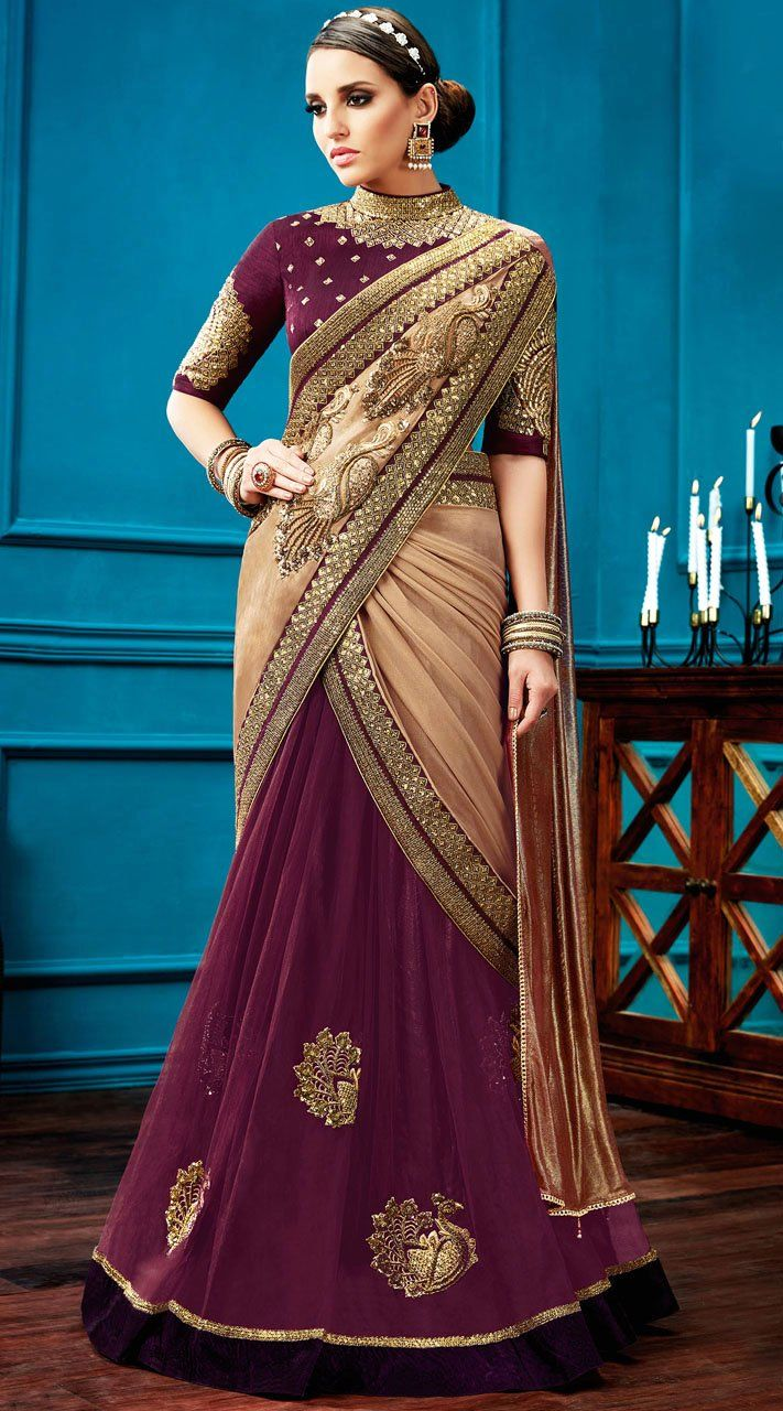 Party Wear Beige And Wine Knitted Georgette Lehenga Saree