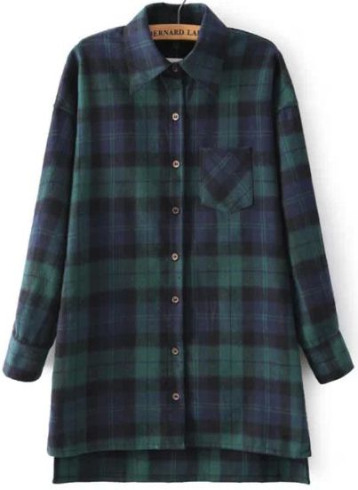 Green Blue Long Sleeve Plaid Loose Blouse -SheIn(Sheinside)
