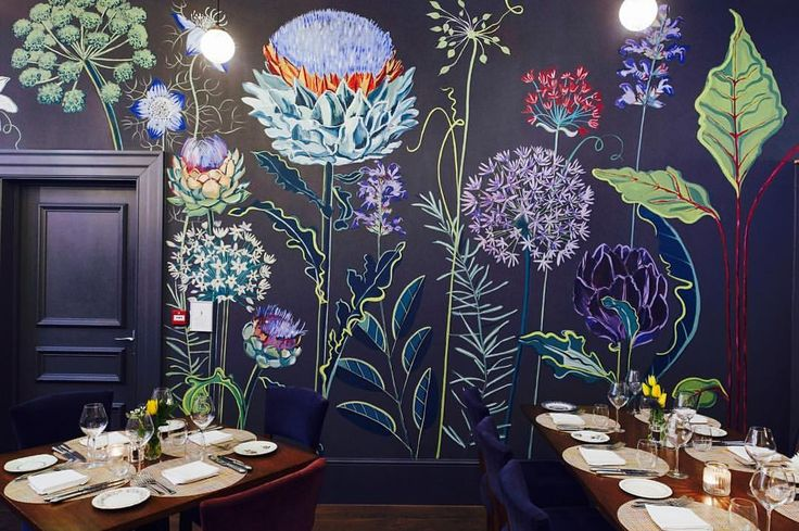 "Lucy Tiffney ""Thanks @churchsttavern for posting this pic of my allium mural #mural #muralart…"""