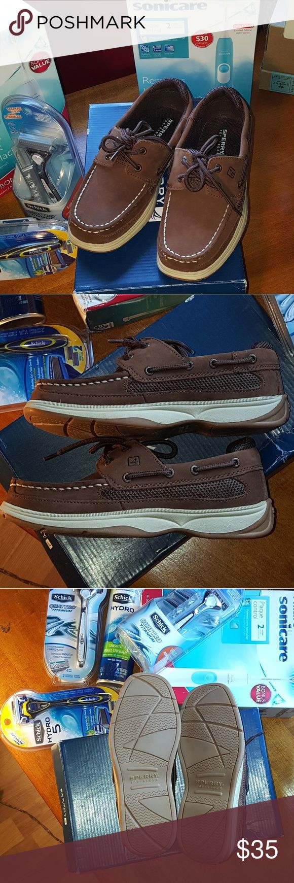 """Sperry shoes size Sperry kids top sider """"lanyard"""" in cigar brown size 3m-features a hand-sewn leather construction, mesh panels for ventilation andan outsole that's specially designed to keep you stabilized on slippery surfaces. Leather/mesh uppers, lace-up front, rubber outsole. New in box.  See my closet for other great items clothes bundles save 10 to 20% on 2 or more items. Clearance marked: 🇺🇸30 😎20% just deduct & use offer button i will accept. Sperry Top-Sider Shoes"""