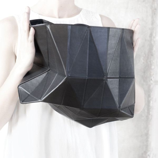 Sculptural Fashion // Lifestyle Brand FINELL Launches Debut Handbag Collection // black leather geometric bag