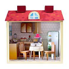 Maqueta 3D de una cocina de casa de muñecas en cartulina.