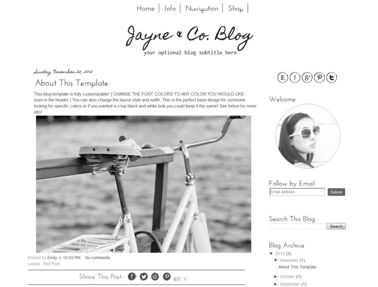 Simple new premade Blogger template minimalist