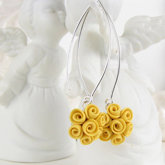 Polymer clay yellow roses earrings, Etsy listing at https://www.etsy.com/listing/181320035/custom-made-earrings-polymer-clay-roses