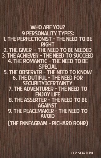 9 PERSONALITY TYPES (THE ENNEAGRAM - RICHARD ROHR)