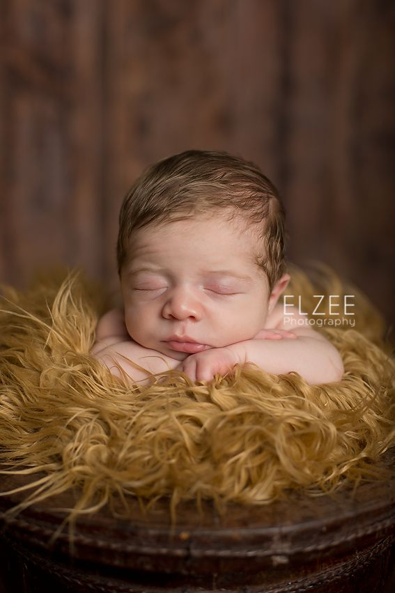 Newborn baby sleeping in the bucket! Photo Credits: Elzee Photography
