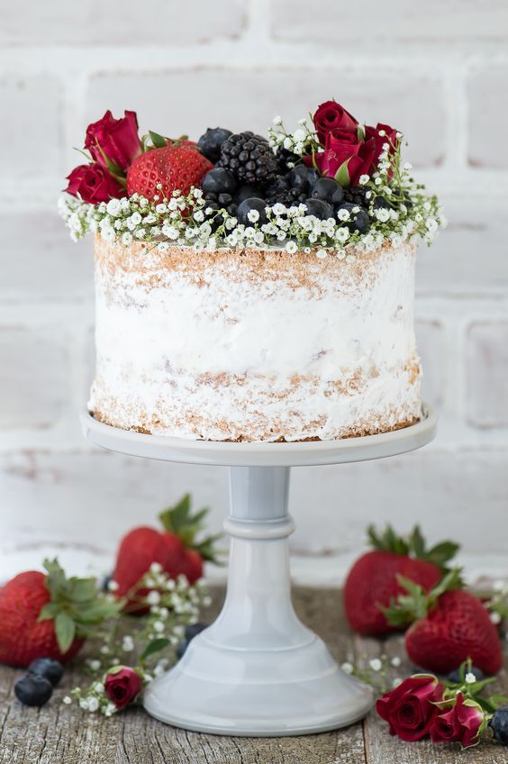 Naked berry ice cream cake recipe. A naked cake featuring 2 layers of ...