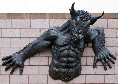 The Minotaur is a huge creature that is half bull and human. More bull then human, the creature rams just like a bull and has more power, because of its massive body. It also has huge bull horns on its head and hooves for feet.