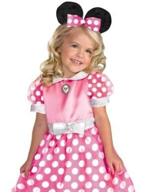 #50105 She can join the Mickey Mouse Club this Halloween as Minnie Mouse. The Clubhouse Minnie Mouse Costume includes a polka dotted pink dress with character cameo. The matching headband with mouse e