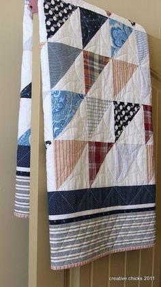 recycled mens shirt quilts | Sheets and Shirts on the Door, made from recycled shirts and sheets..
