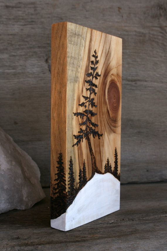 Snow Dancer Art Block Wood burning by TwigsandBlossoms on Etsy Simplify and have them paint a scene on wood